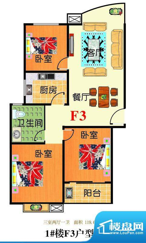 三友翡翠城1#楼F3户面积:119.67平米