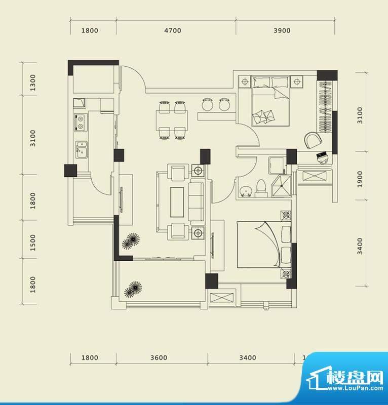 上城国际一期B户型 面积:85.42平米