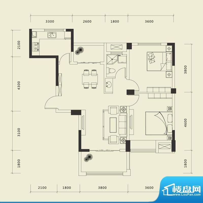 上城国际一期C户型 面积:94.75平米