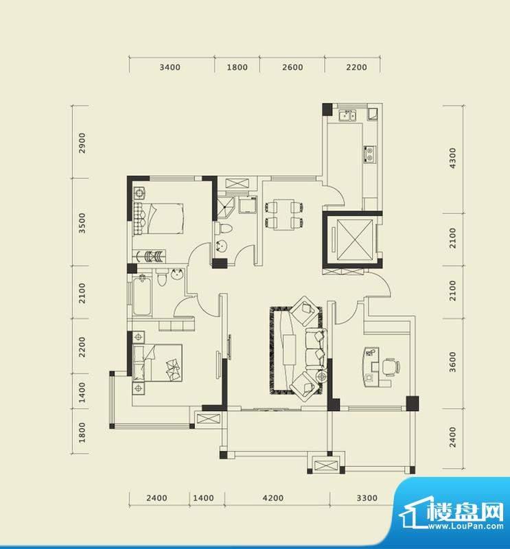 上城国际一期E户型 面积:132.74平米