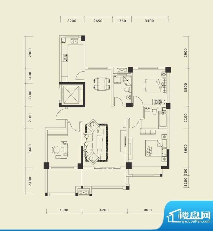 上城国际一期F户型 面积:132.74平米