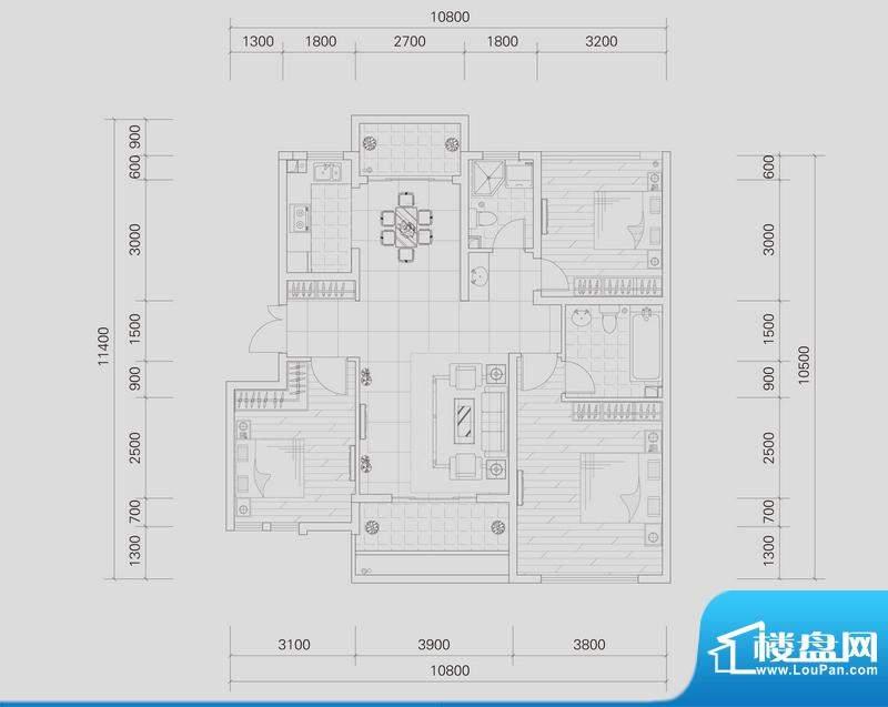 上城国际洋房东山K户面积:100.79平米