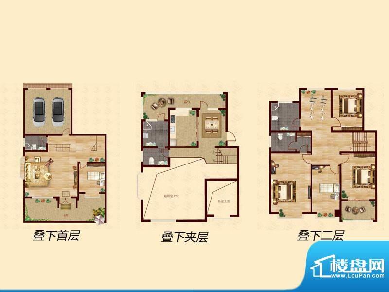 至尊门第复式J户型 面积:250.00平米