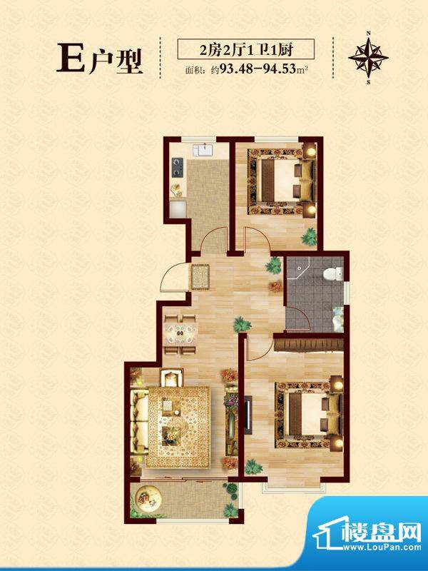 至尊门第E户型 2室2面积:93.48平米