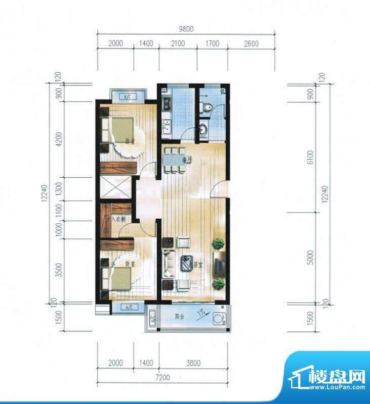 滨海花园9#C户型 2室面积:101.78平米