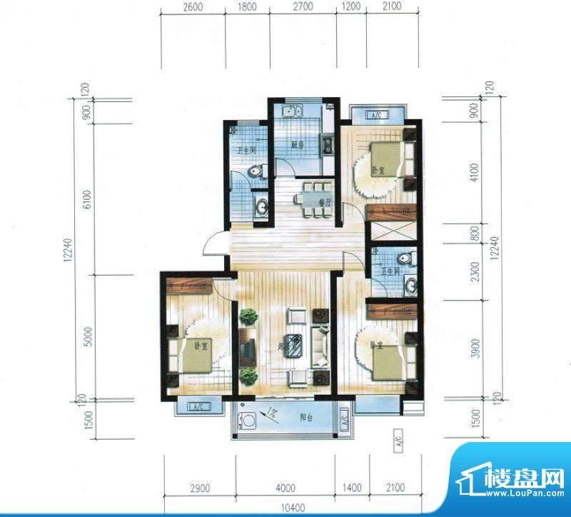 滨海花园9#楼D户型 面积:123.33平米