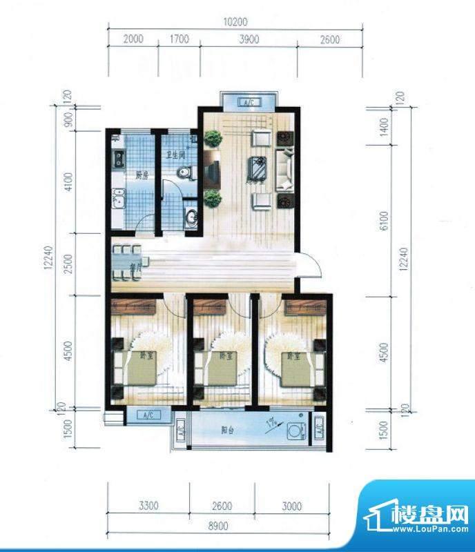 滨海花园9#楼E户型 面积:117.69平米