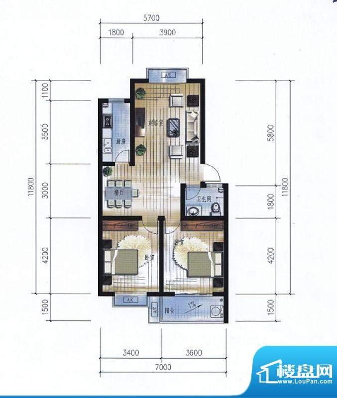 滨海花园11#楼E户型面积:88.20平米