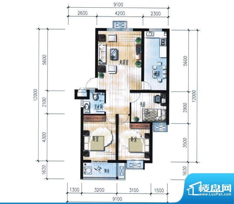 滨海花园4#7#楼B户型面积:97.24平米