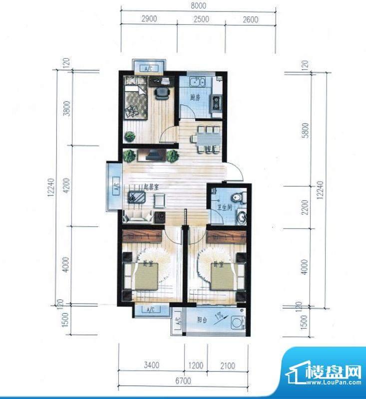 滨海花园9#楼A户型 面积:88.81平米
