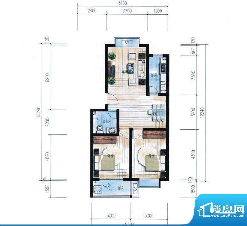 滨海花园9#楼B户型 面积:88.69平米