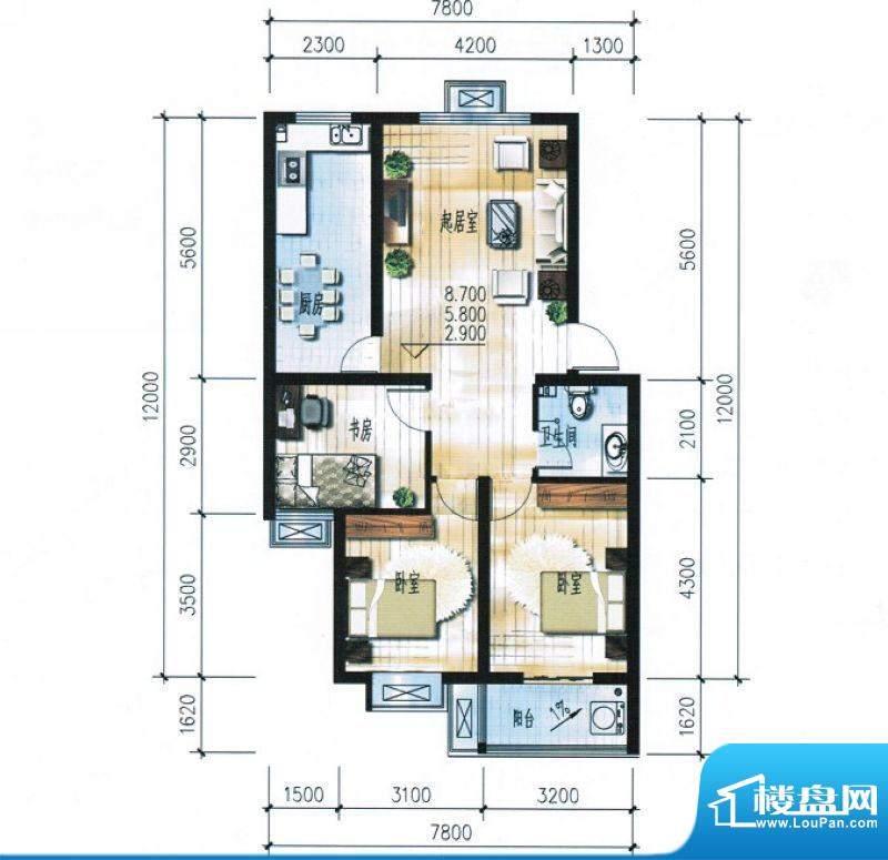 滨海花园4#7#楼C户型面积:97.65平米