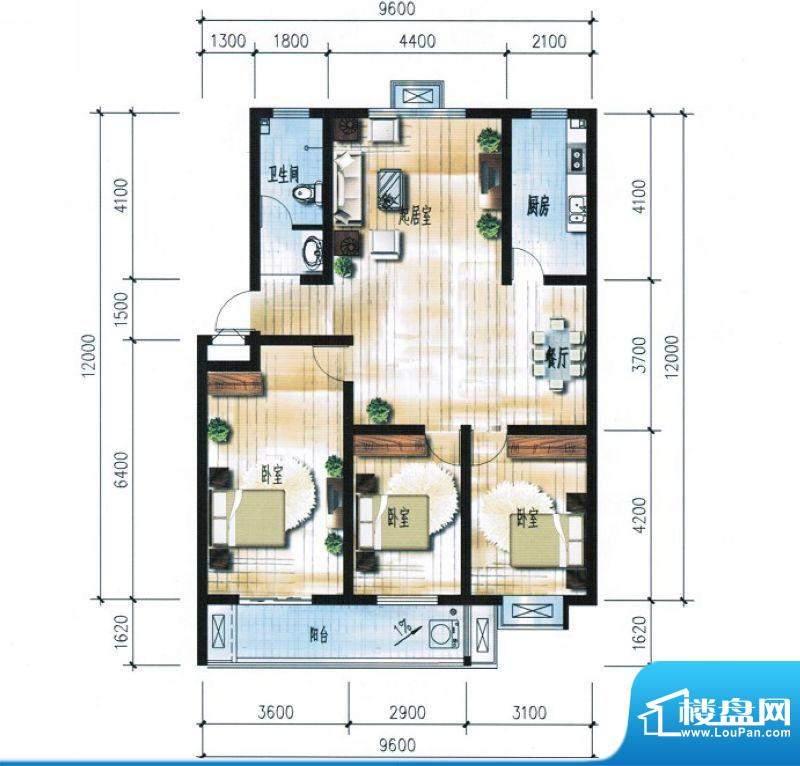 滨海花园4#7#楼D户型面积:13235.00平米