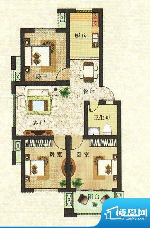 香颂湾B1户型 3室2厅面积:96.78平米
