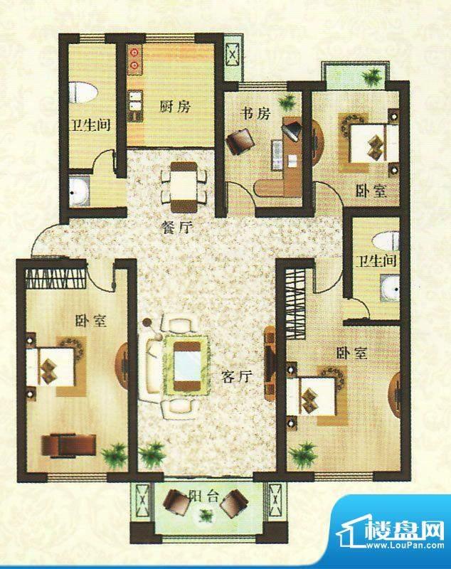 香颂湾B2户型 4室2厅面积:153.51平米