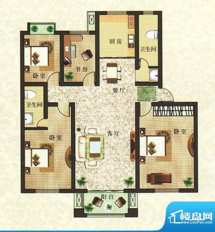 香颂湾B3户型 4室2厅面积:163.17平米
