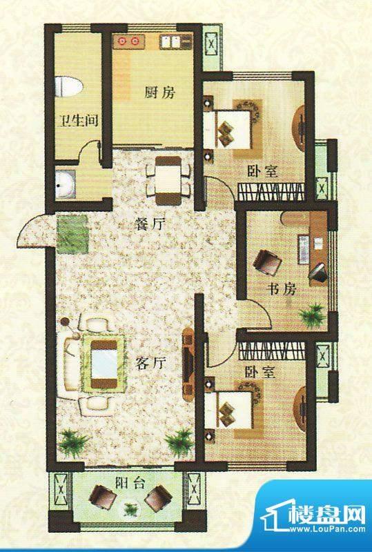 香颂湾B4户型 3室2厅面积:117.43平米