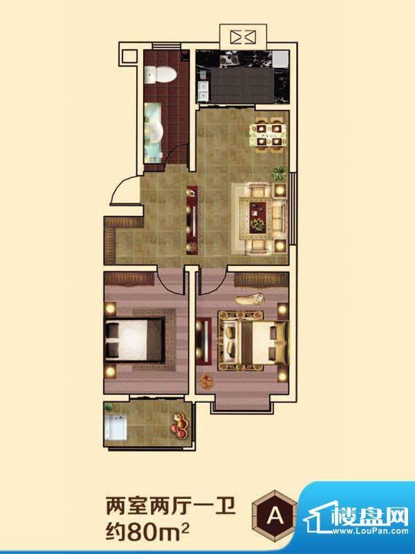 虞河小镇A户型 2室2面积:80.00平米