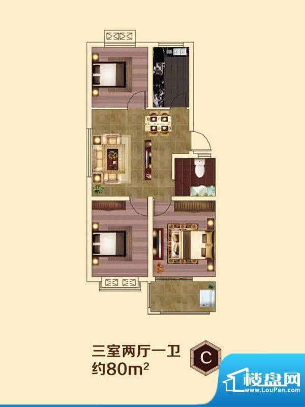虞河小镇C户型 3室2面积:80.00平米