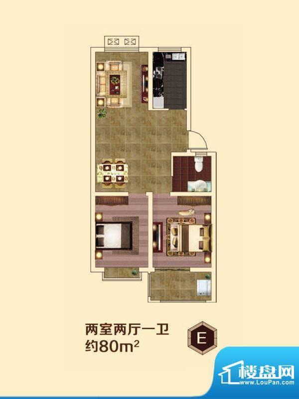 虞河小镇E户型 2室2面积:80.00平米