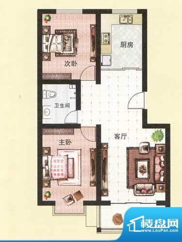 纳福馨城户型A 2室1面积:83.00平米
