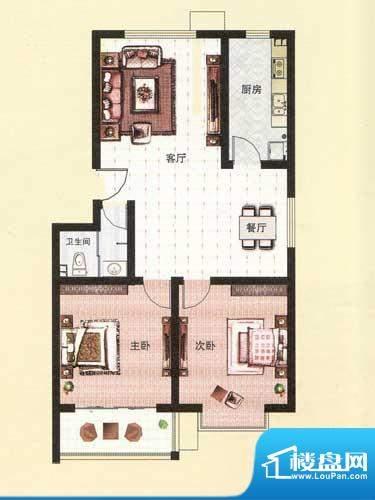纳福馨城户型B 2室2面积:94.53平米