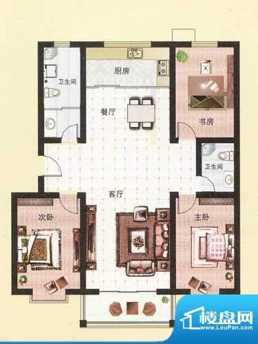 纳福馨城户型D 3室2面积:131.98平米