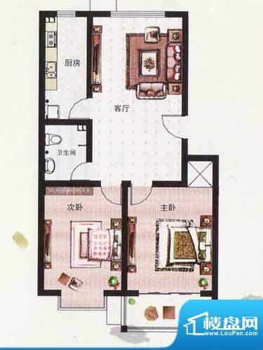 纳福馨城户型E 2室1面积:90.69平米