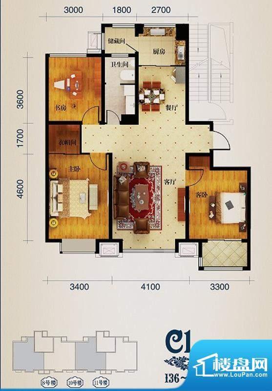 馨悦小区C1 3室2厅1面积:138.00m平米