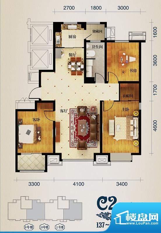 馨悦小区C2 3室2厅1面积:139.00m平米