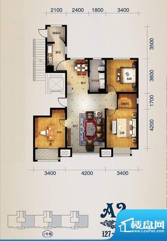 馨悦小区A2 3室2厅1面积:129.00m平米