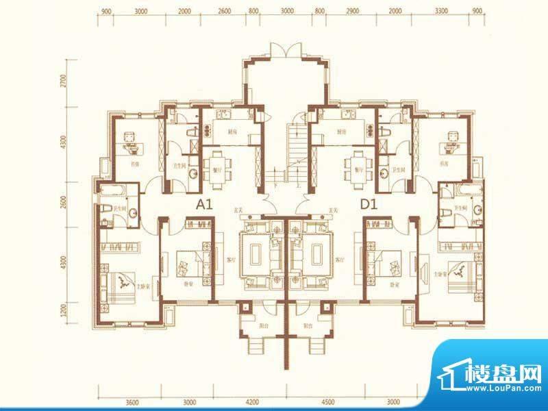 麗景湾A1D1 3室2厅2面积:132.00m平米