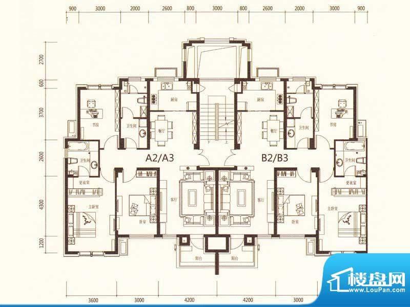 麗景湾A2A3B2B3 3室面积:132.00m平米