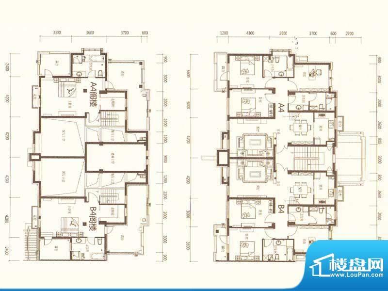 麗景湾A4B4 4室2厅3面积:186.00m平米