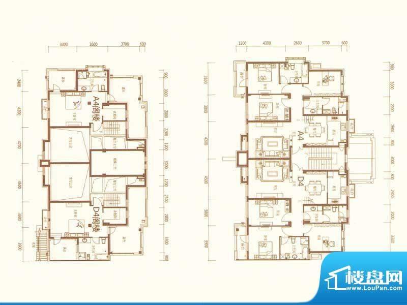 麗景湾A4D4 4室2厅3面积:186.00m平米