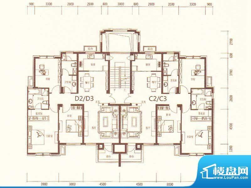 麗景湾D2D3C2C3 3室面积:139.00m平米