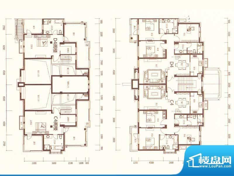 麗景湾D4C4 4室2厅3面积:194.00m平米