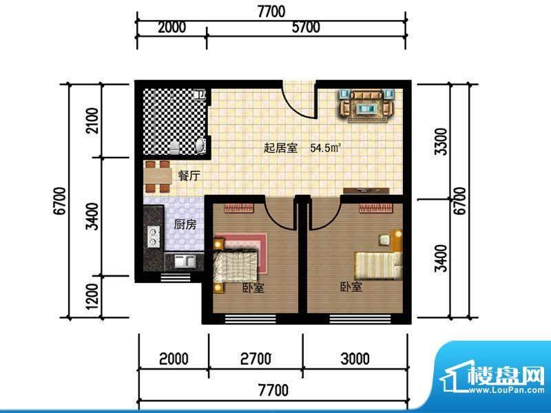 人禾金华苑211-54.5面积:54.50m平米