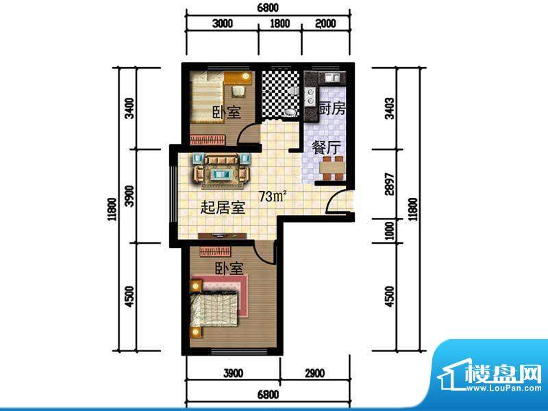 人禾金华苑211-73 2面积:73.00m平米