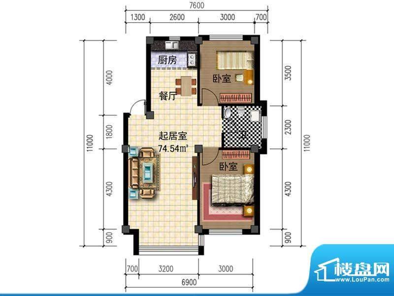 人禾金华苑211-74.5面积:74.54m平米