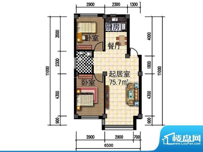 人禾金华苑211-75.7面积:75.70m平米