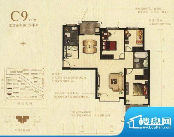 麒麟湾C9户型图 3室面积:124.00m平米