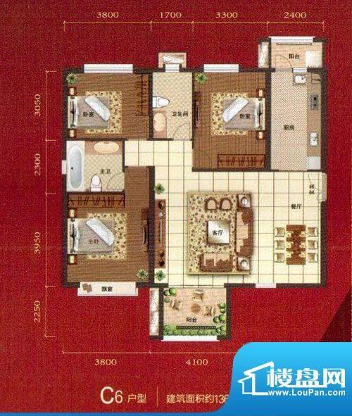 麒麟湾户型图C6 3室面积:136.05m平米