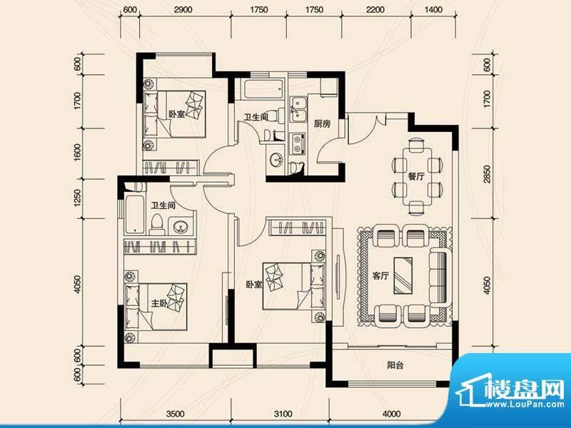 东方银座公馆322-11面积:117.39m平米