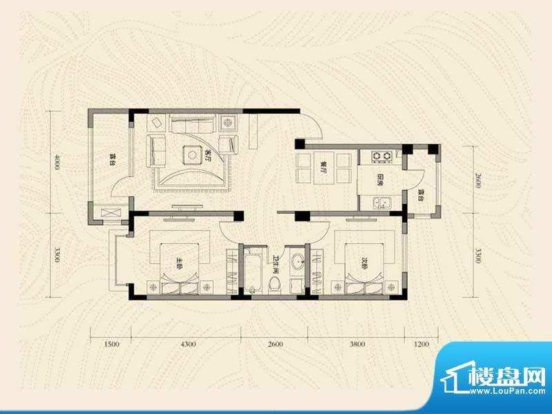 辽河左岸二室二厅一面积:101.75m平米