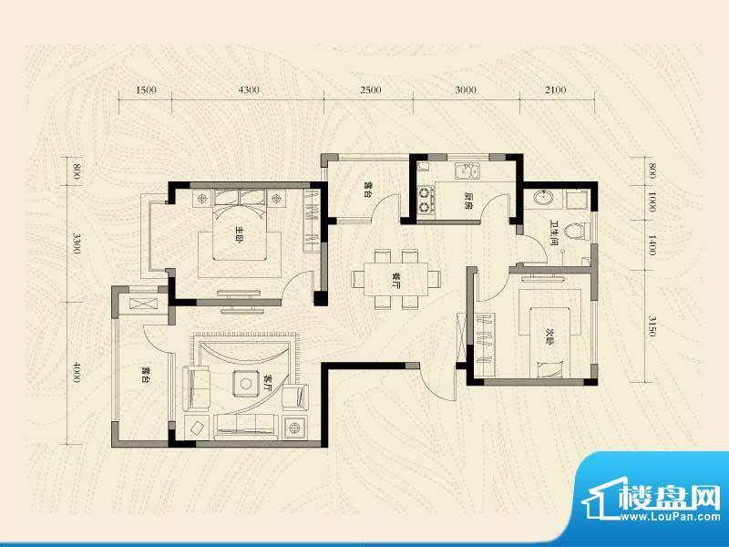 辽河左岸二室二厅一面积:110.05m平米