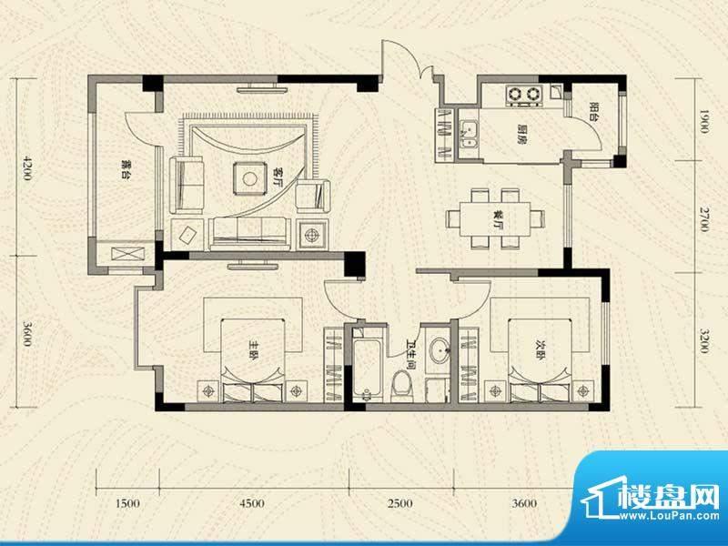 辽河左岸二室二厅一面积:106.56m平米
