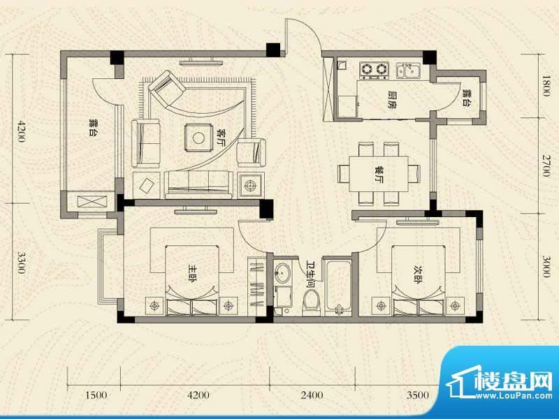 辽河左岸二室二厅一面积:95.71m平米