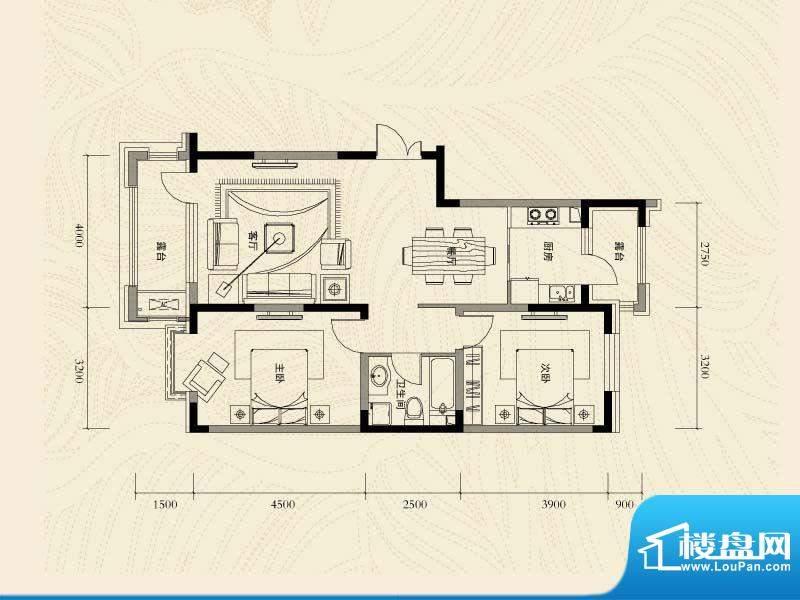辽河左岸三室二厅一面积:103.33m平米