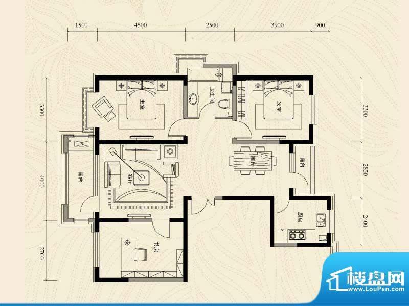 辽河左岸三室二厅一面积:128.23m平米